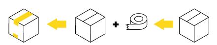 sposób zaklejania kartonów